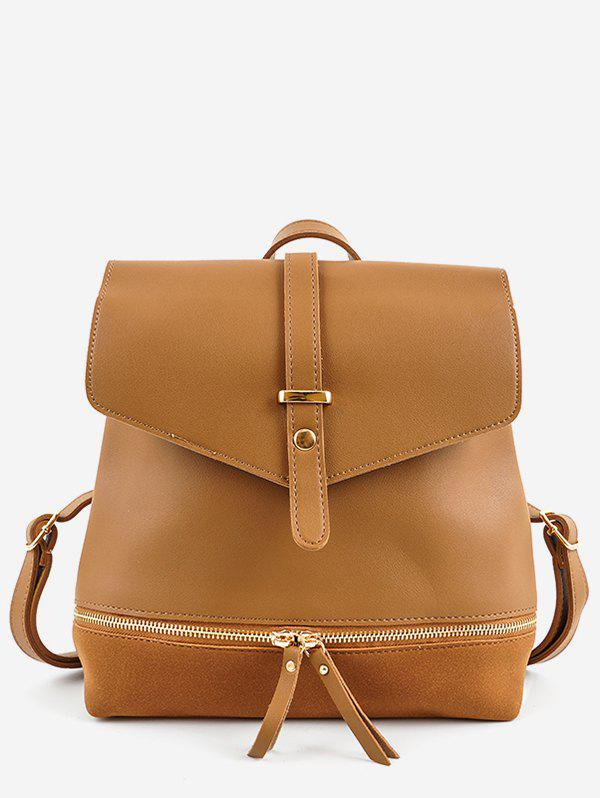 Affordable Panel Zip Pocket PU Leather Backpack