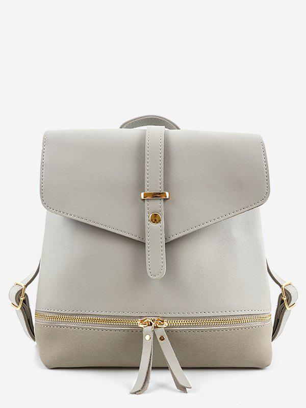 New Panel Zip Pocket PU Leather Backpack
