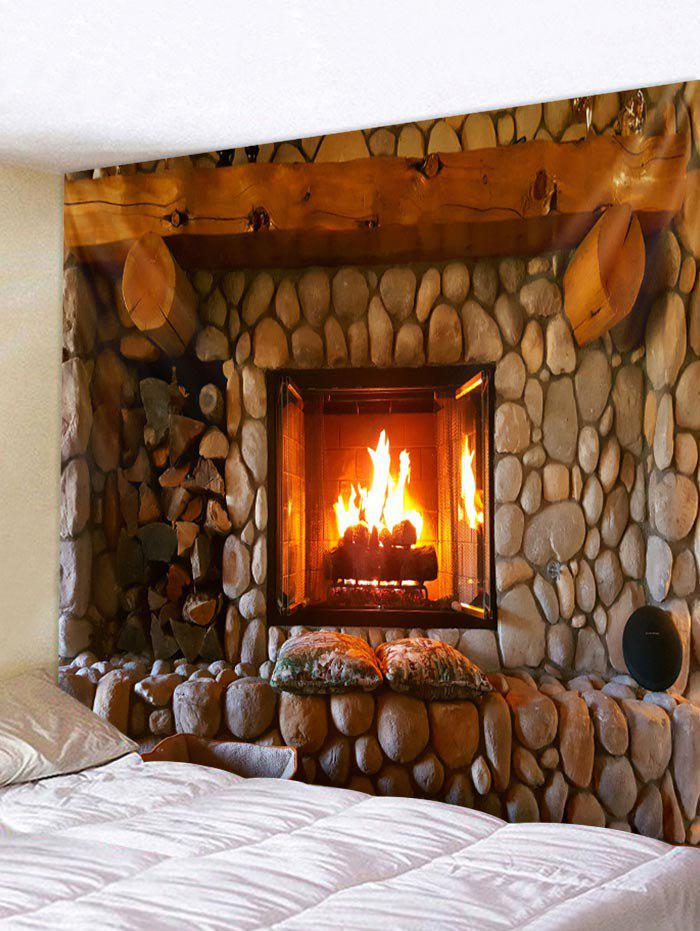 Cheap Christmas Fireplace Pattern Wall Art Tapestry