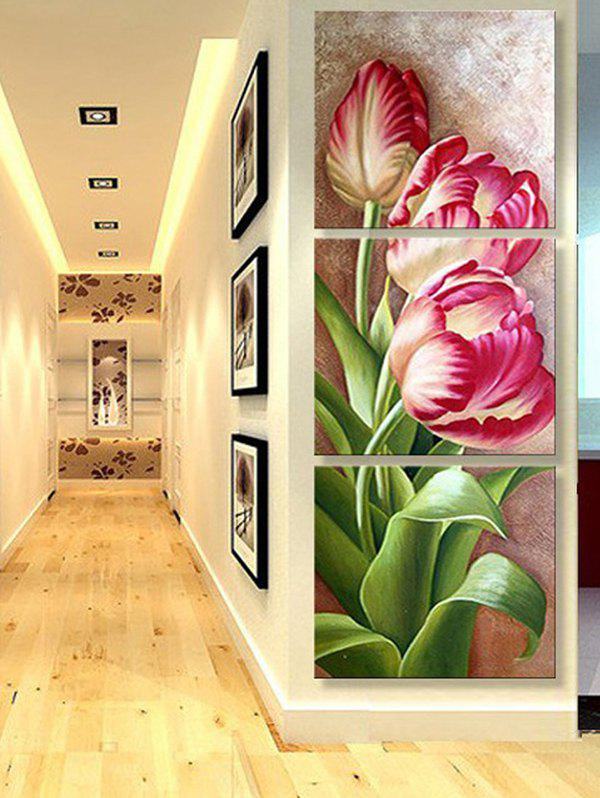 Outfits Blooming Flower Print Unframed Split Canvas Paintings