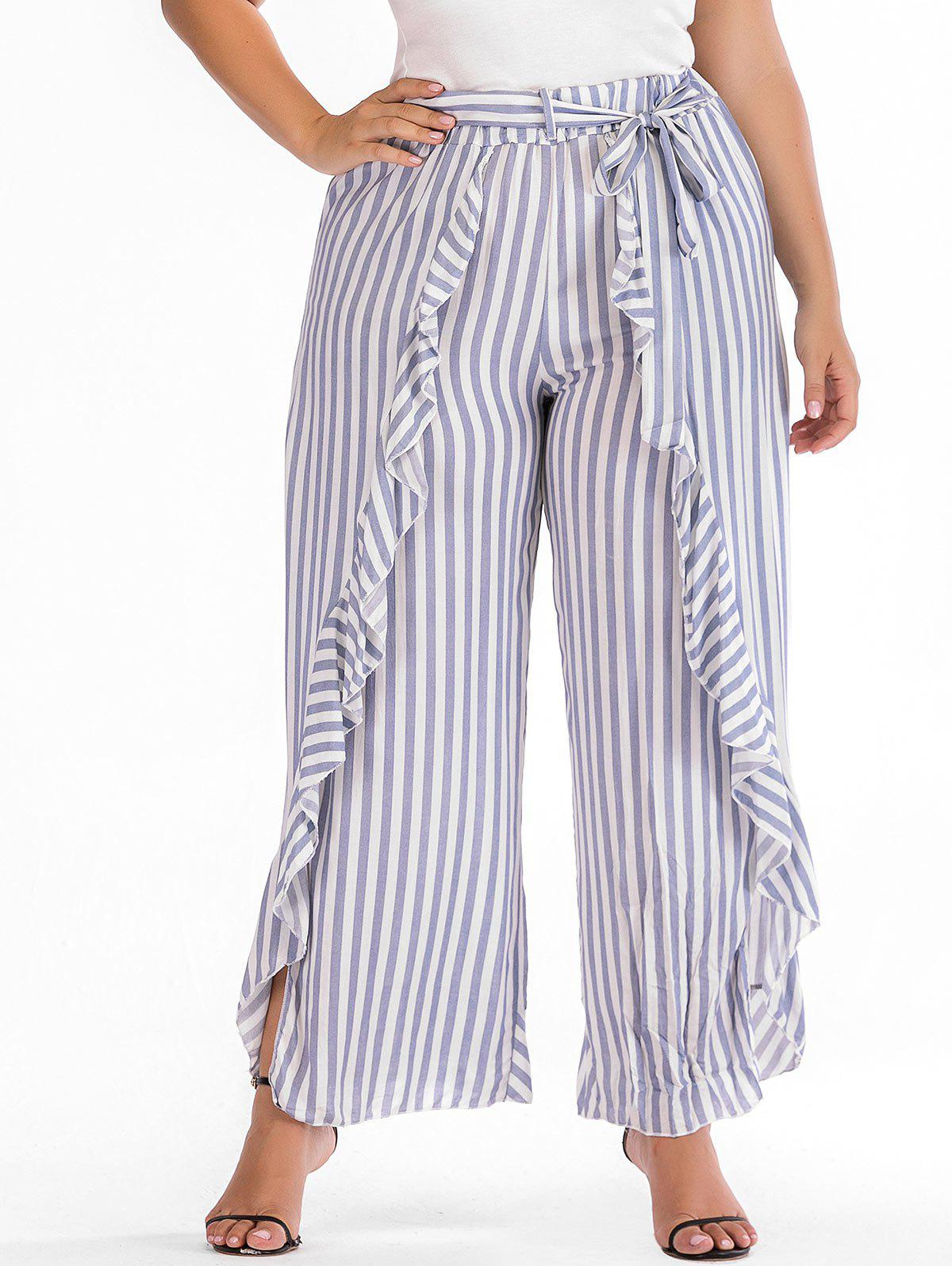 Fancy Plus Size Striped Ruffle Overlap Pants