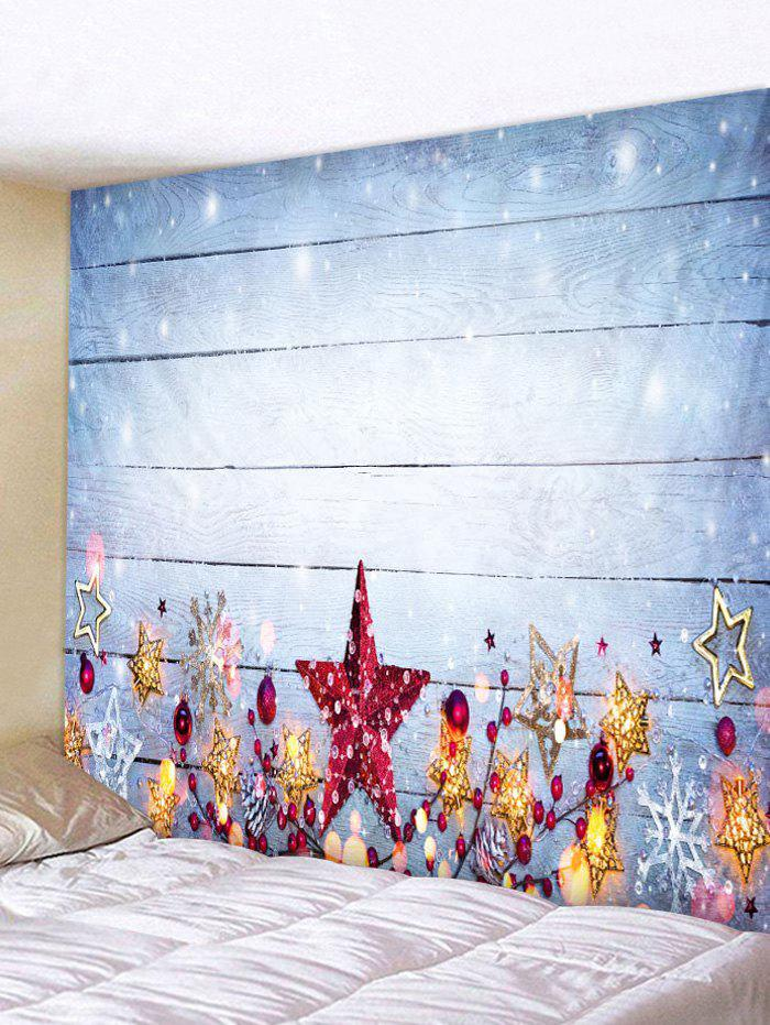 Store Christmas Stars Wood Grain Print Tapestry Wall Hanging Art Decoration