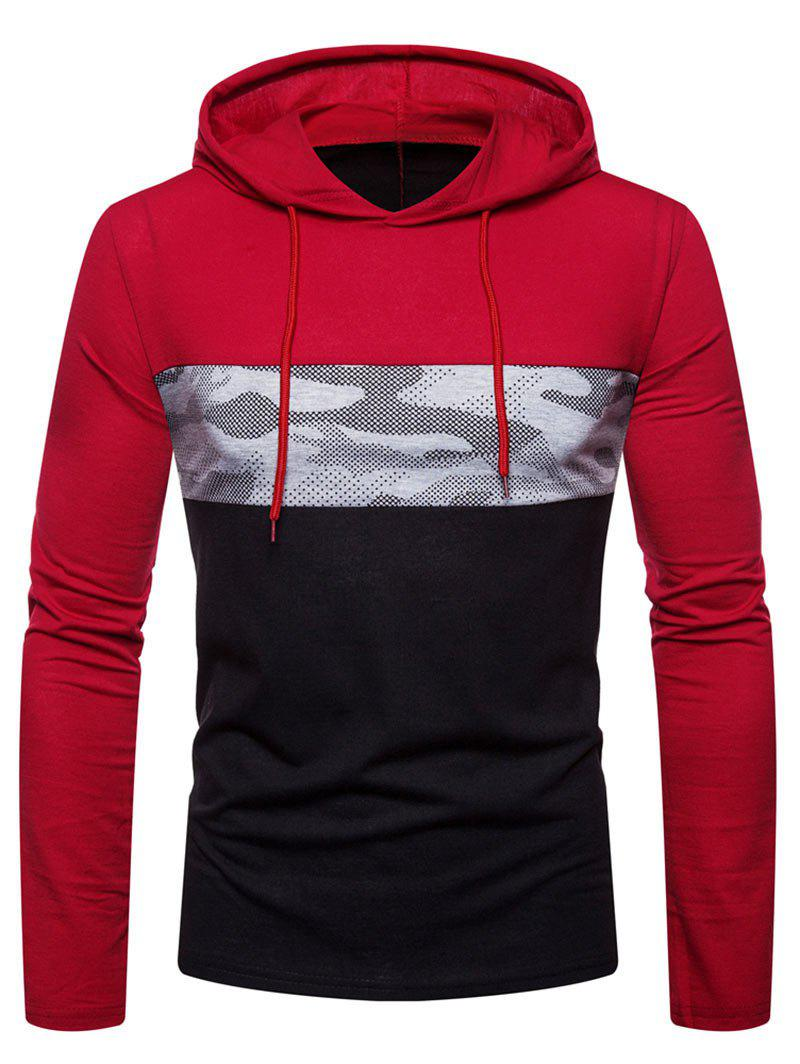 Outfits Hooded Color Block Camouflage Print T-shirt