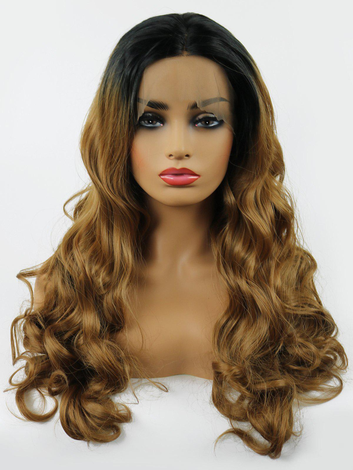 Fashion Middle Part Long Ombre Wavy Lace Front Synthetic Wig