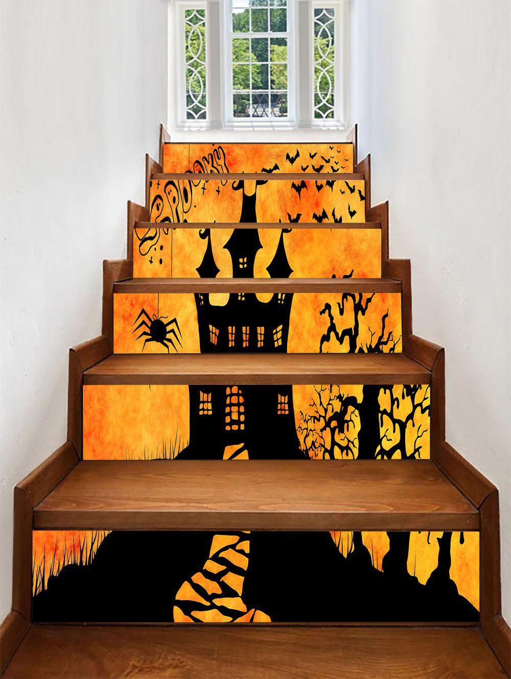 Outfits Halloween Spooky Castle Print Decorative Stair Stickers
