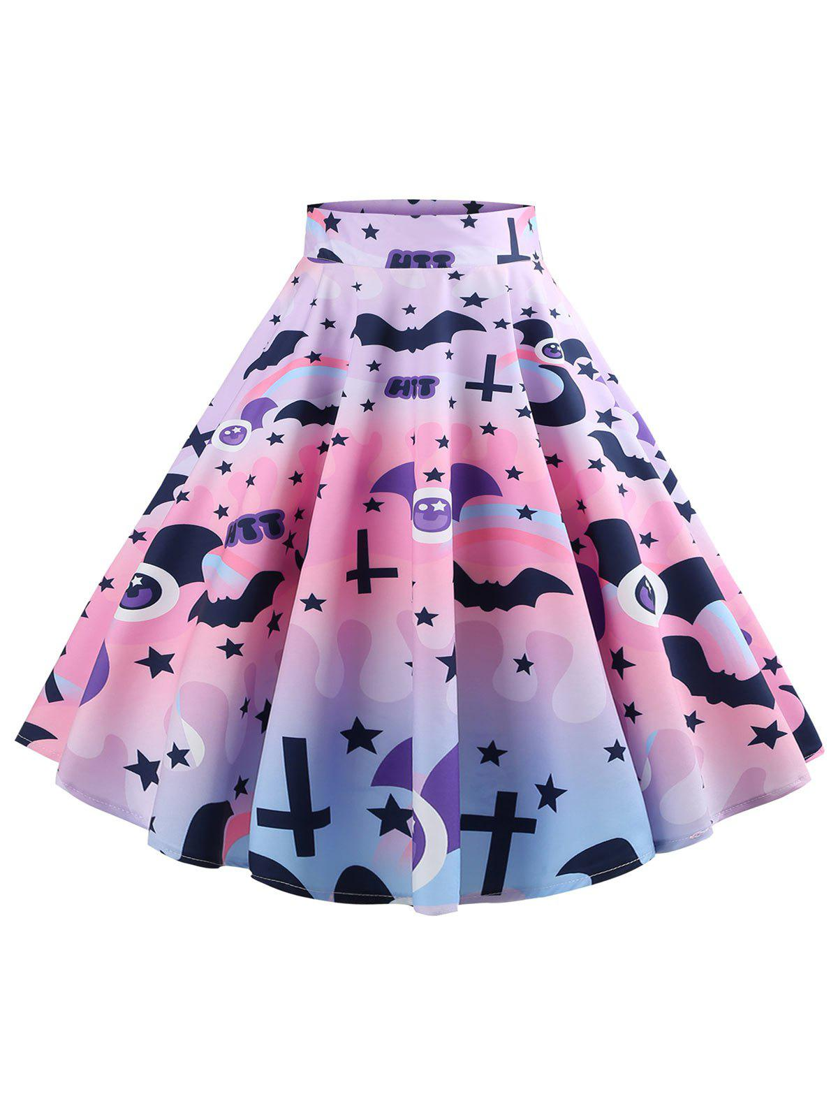 Fashion Halloween Bat and Star Print Mid Calf Skirt