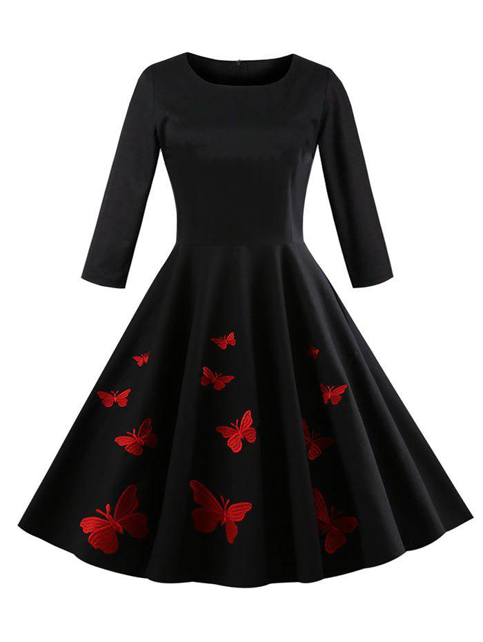 Sale Butterfly Embroidery Tea Length Dress