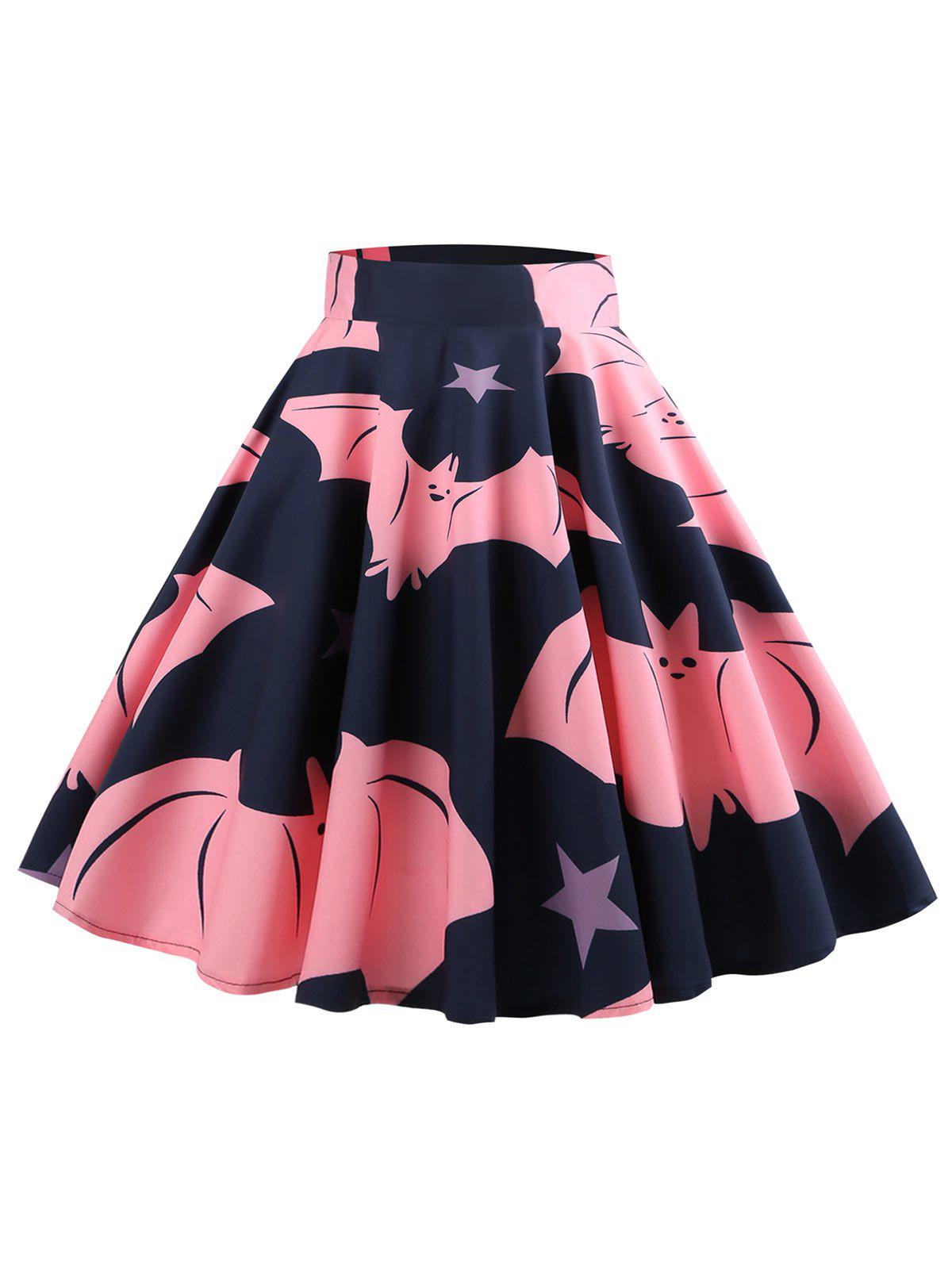 Store Bat Pattern Halloween Mid Calf Skirt