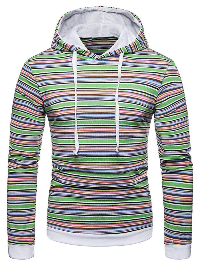 Discount Drawstring Hooded Colorful Striped T-shirt