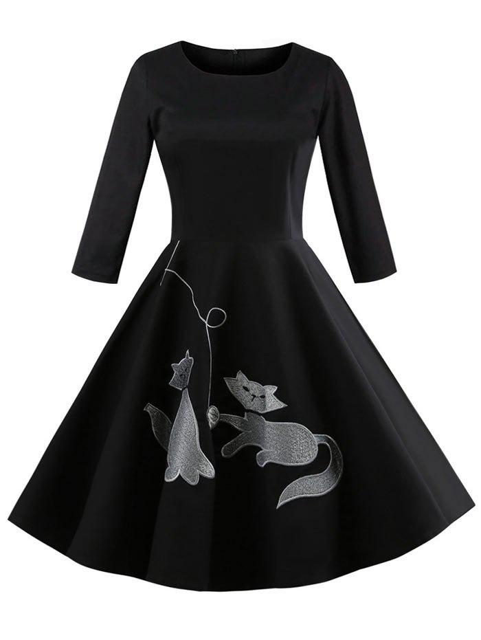 Outfits Kitten Embroidery Retro Dress