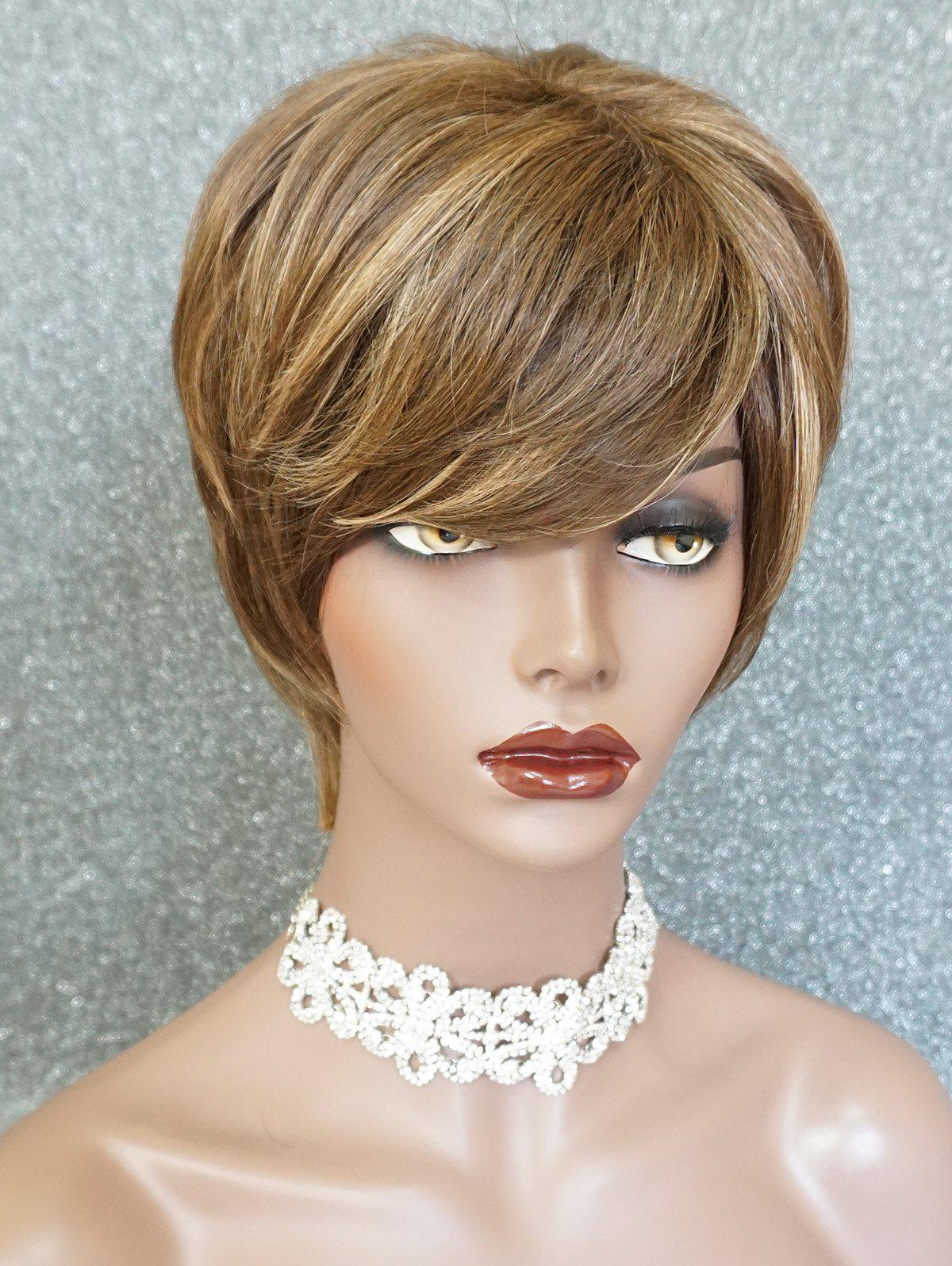 New Short Side Bang Layer Colormix Human Hair Wig