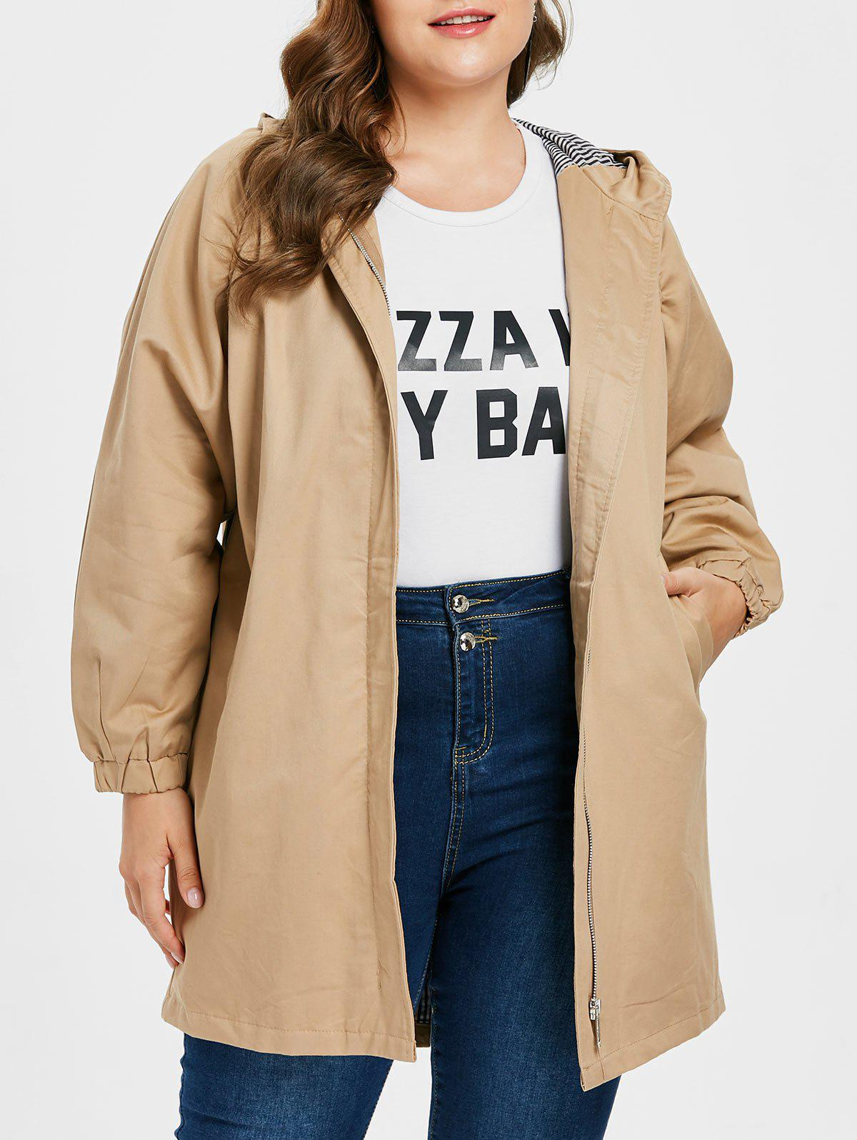 Discount Plus Size Zipper Tunic Coat