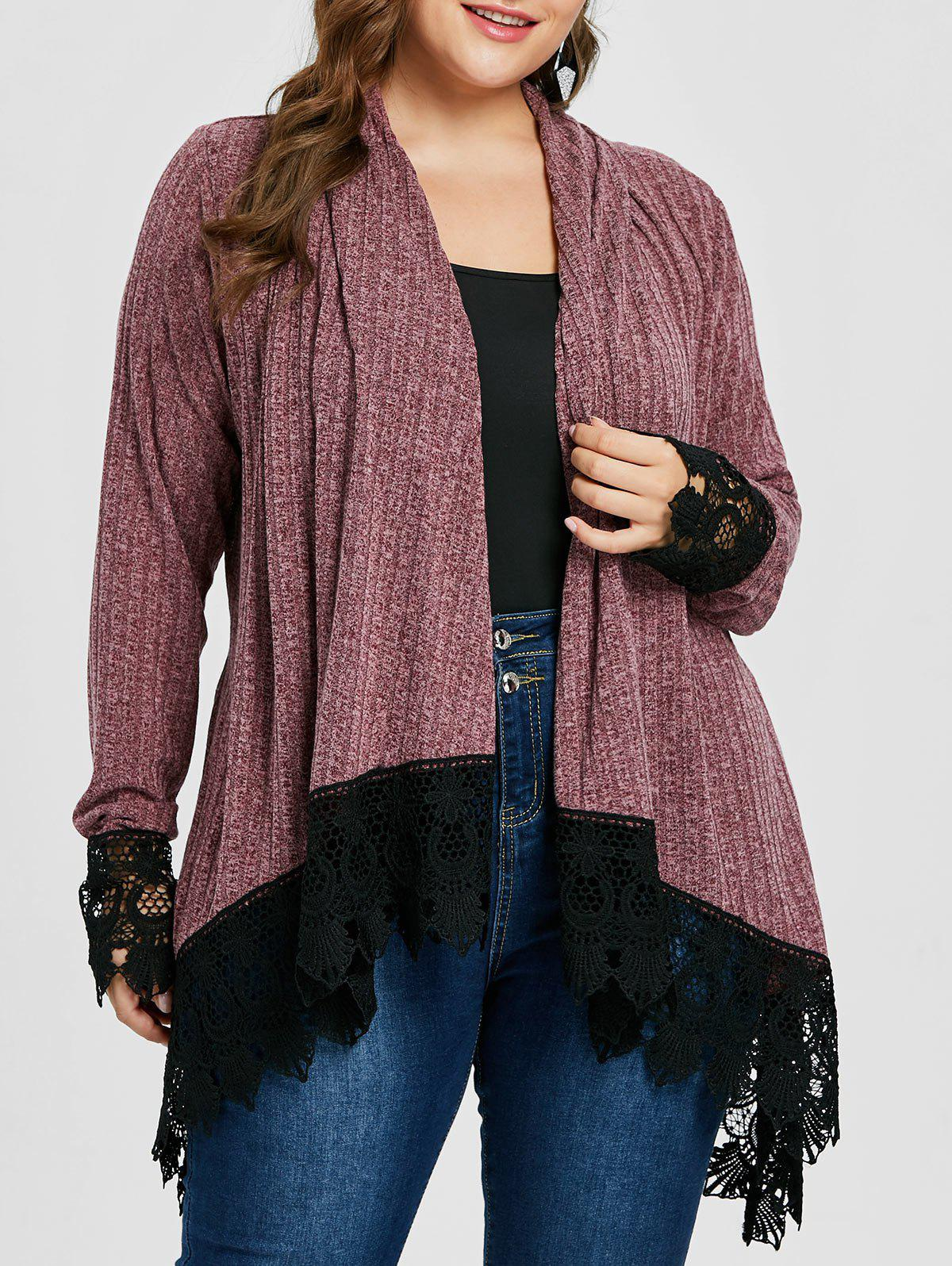 Chic Plus Size Ribbed Shawl Collar Cardigan