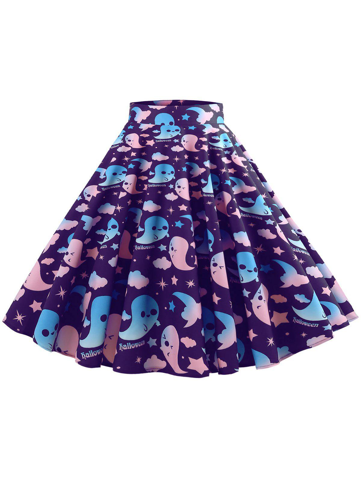 Affordable Halloween Ghost Pattern Mid Calf Skirt