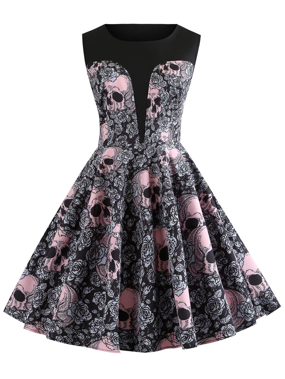 Cheap Vintage Skull and Floral Print Halloween A Line Dress