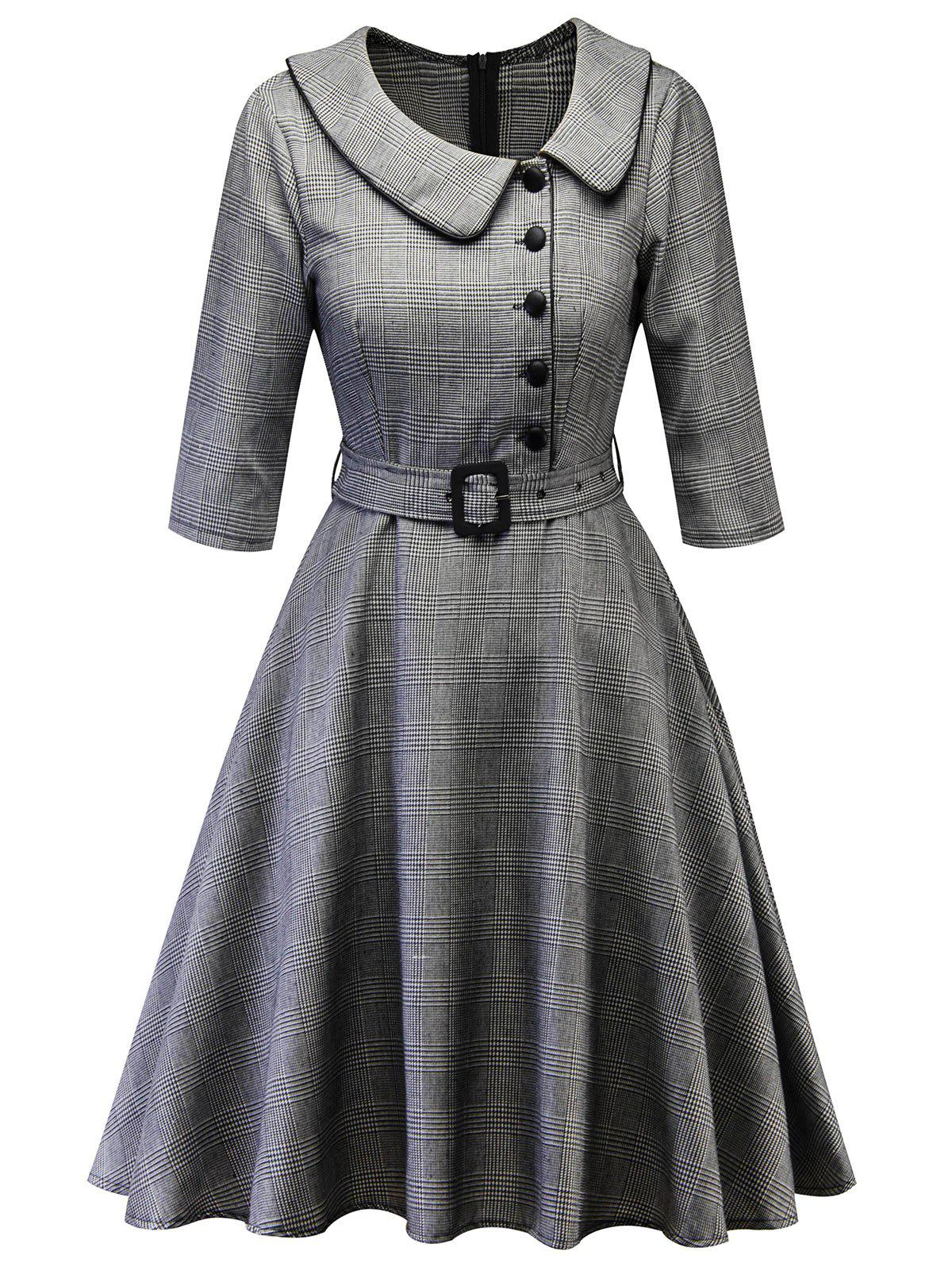 Buy Plaid Peter Pan Collar Vintage Dress