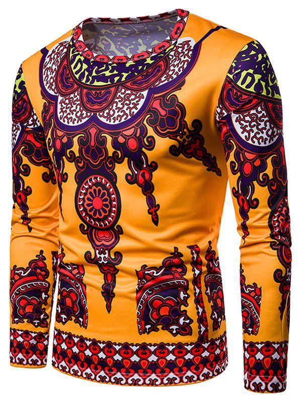 New All Over Ethnic Style Print Long Sleeve T-shirt