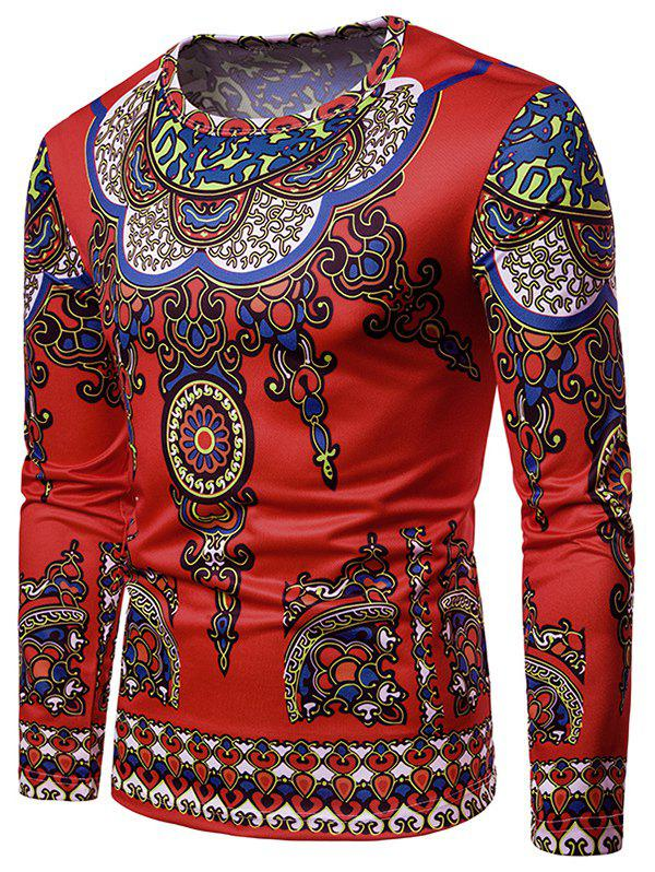 4e9258f2021cc 57% OFF   2019 All Over Ethnic Style Print Long Sleeve T-shirt ...