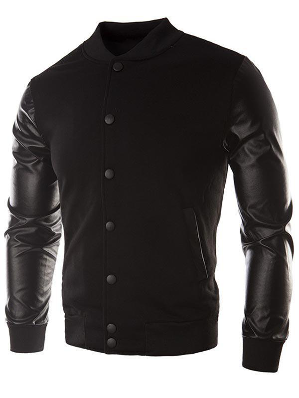 Cheap Faux Leather Sleeve Button Placket Jacket