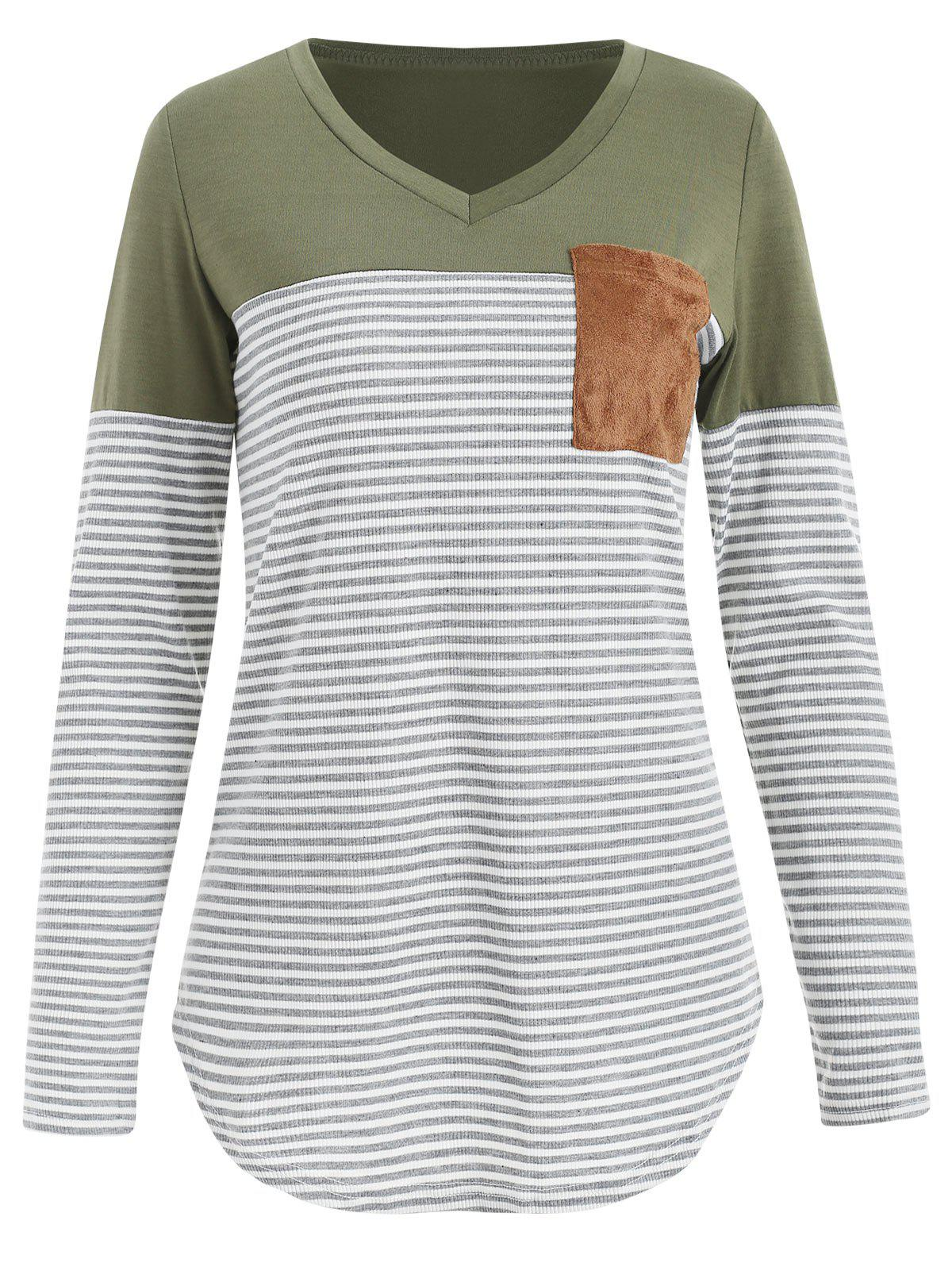Discount V Neck Striped Panel T-shirt