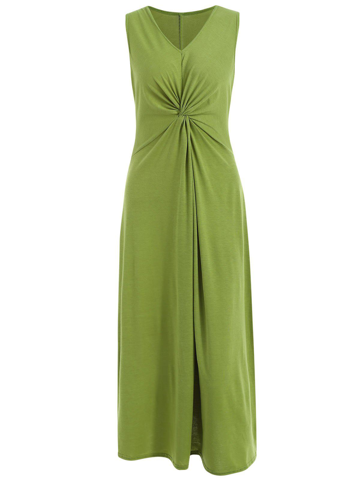 Trendy Ruched Front Maxi Sleeveless Dress