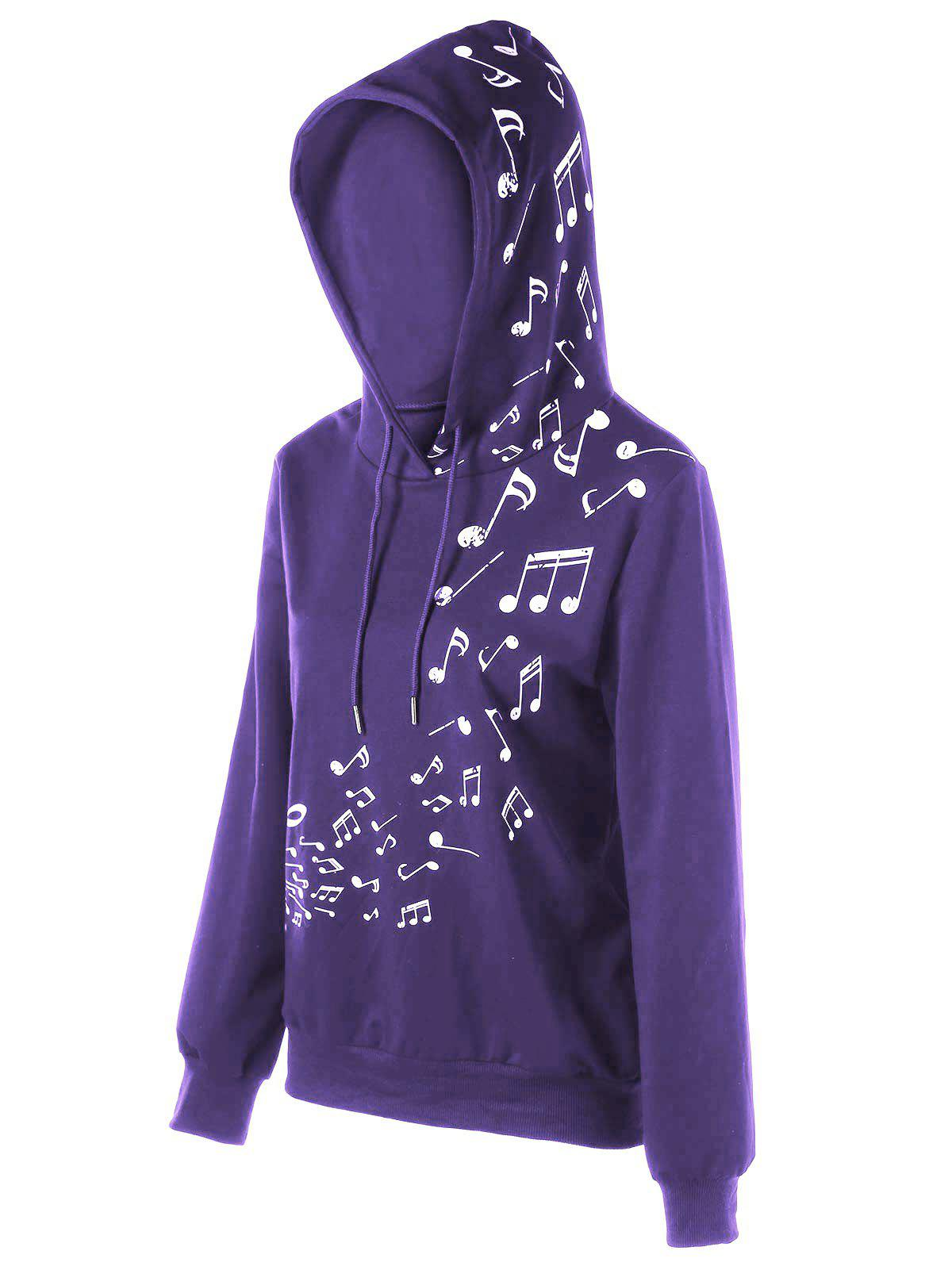 Fashion Color Block Music Note Hoodie