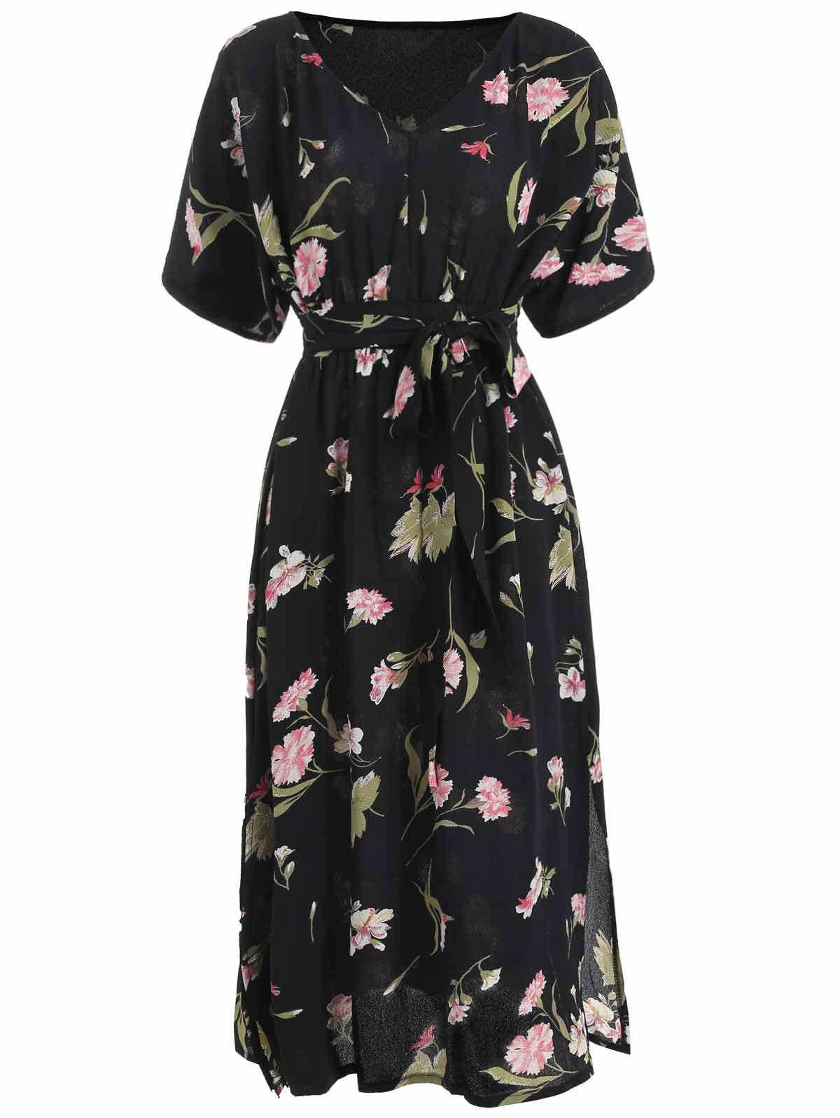 Outfits Floral Print Batwing Sleeve Flare Dress