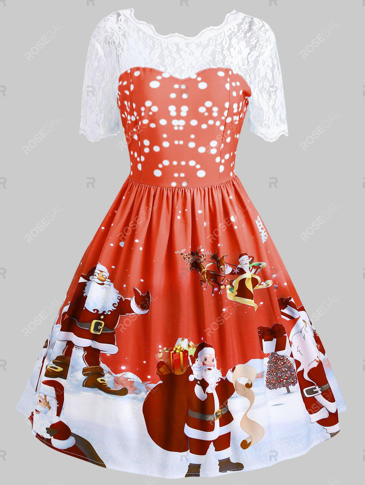 Hot Vintage Lace Insert Santa Claus Print Christmas Dress