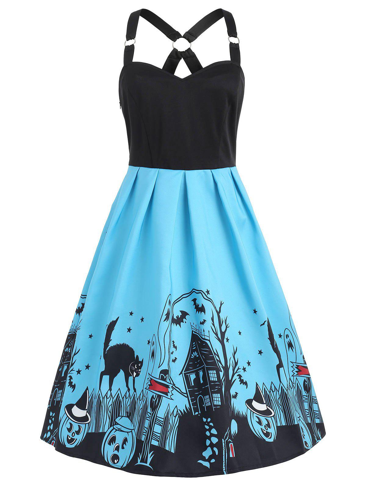 Trendy Sleeveless Halloween Black Cats Dress