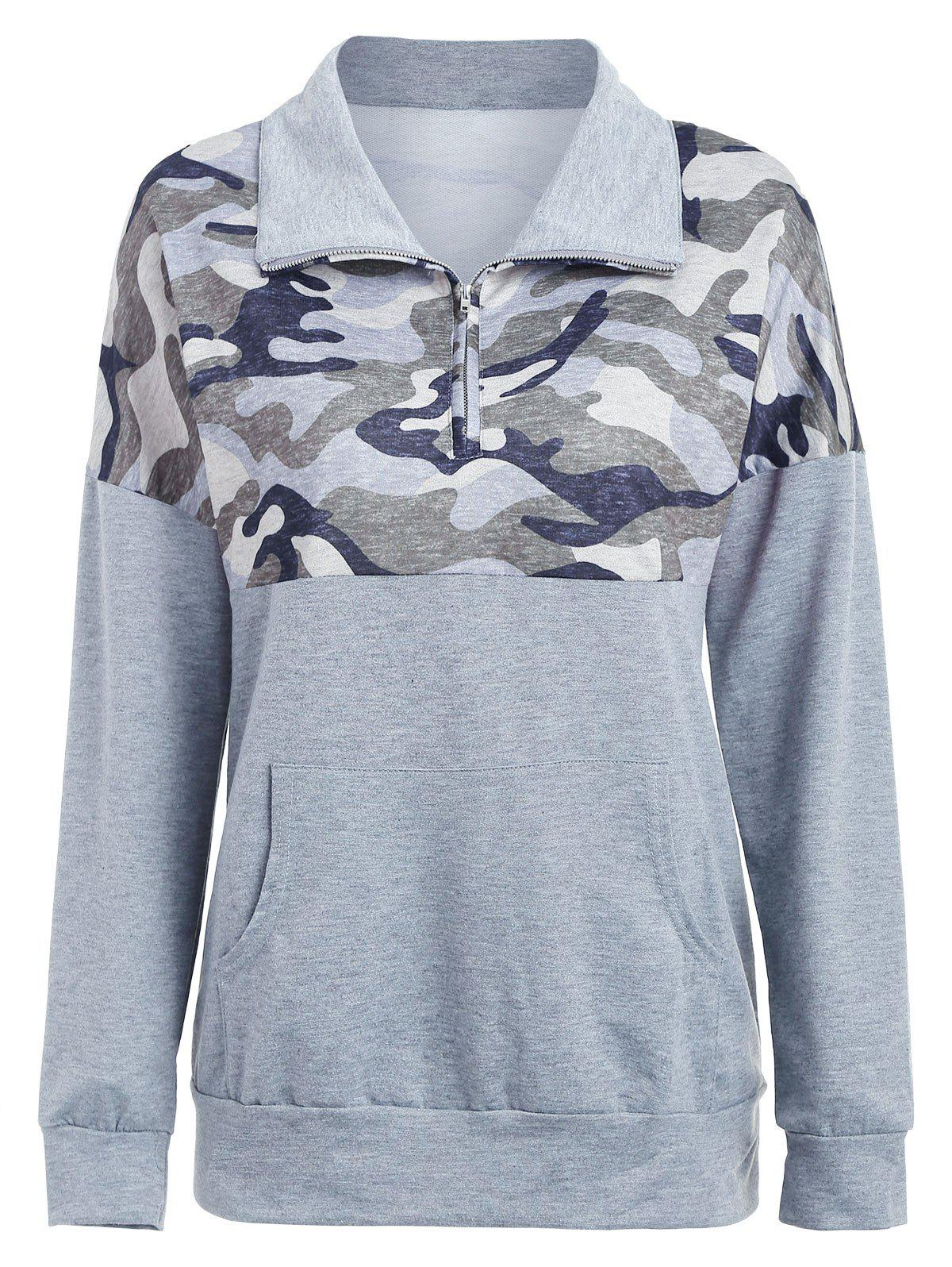 Sale Kangaroo Pocket Printed Zip Sweatshirt