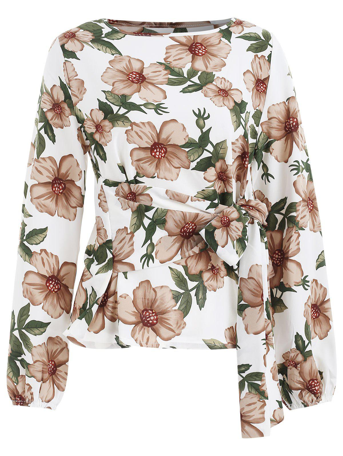 Latest Floral Print Full Sleeve Blouse with Tie