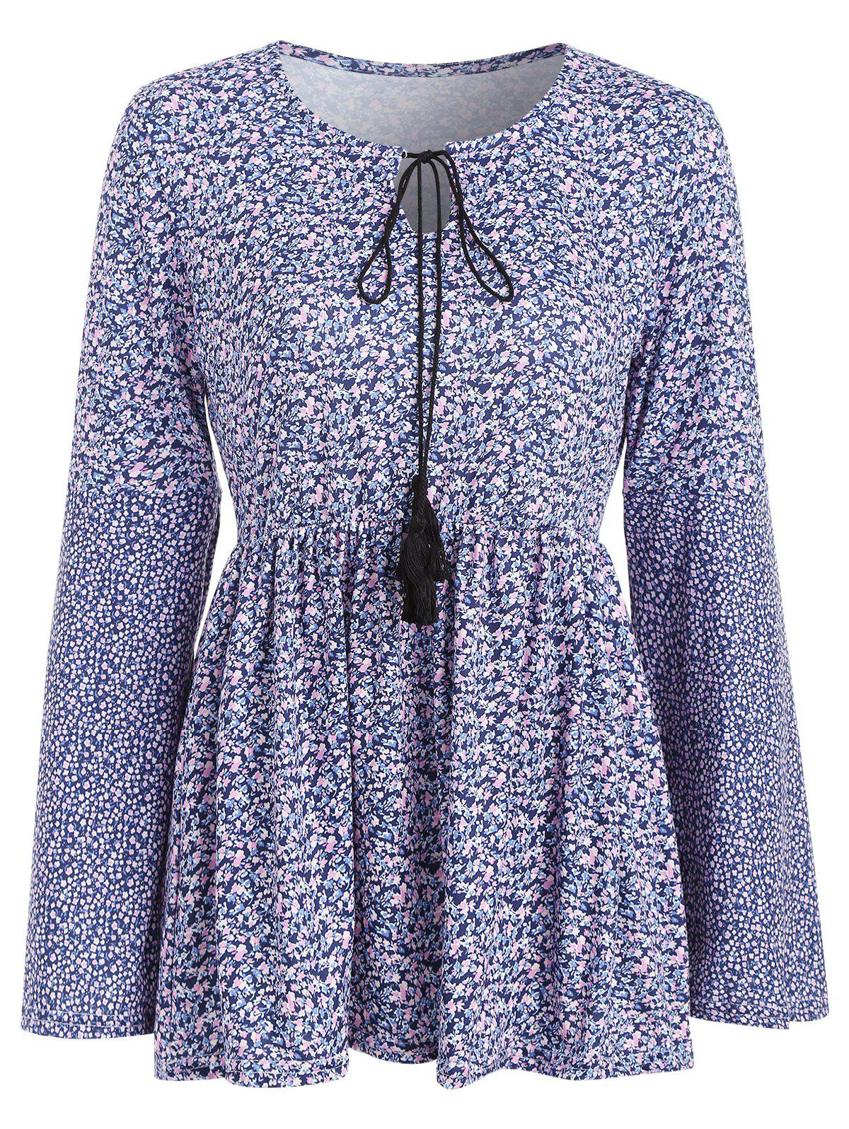 Fancy Long Sleeve Tiny Floral Print Skirted T-shirt