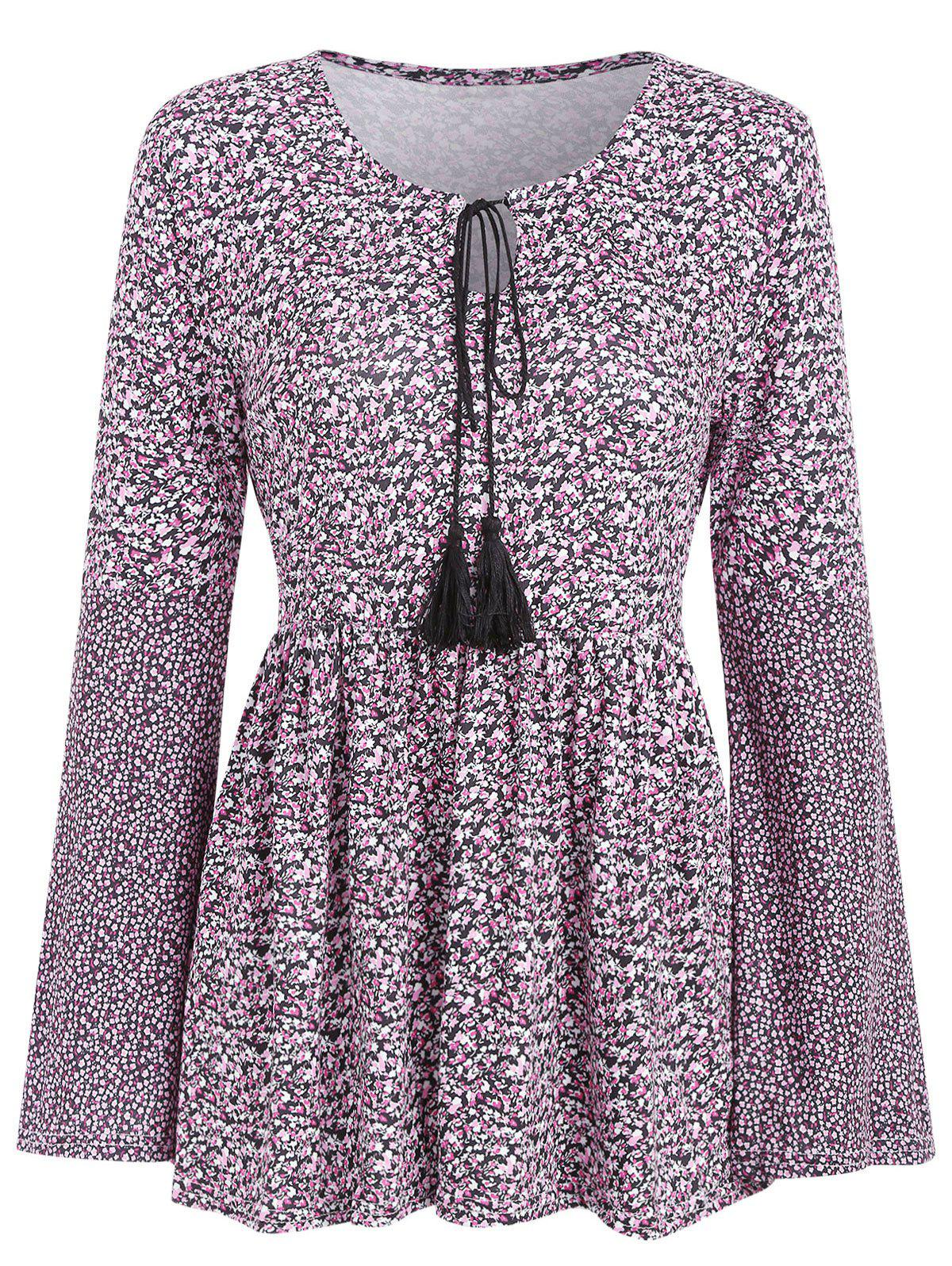 Sale Long Sleeve Tiny Floral Print Skirted T-shirt