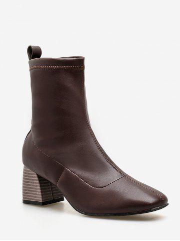 Stacked Heel PU Leather Ankle Boots