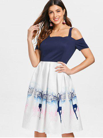 Dancing Girl Print Fit and Flare Dress