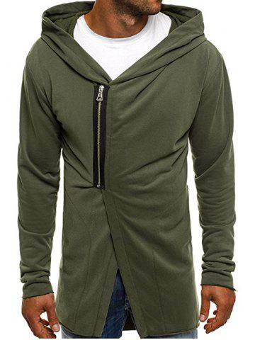Casual Half Zip Design Asymmetry Hoodie