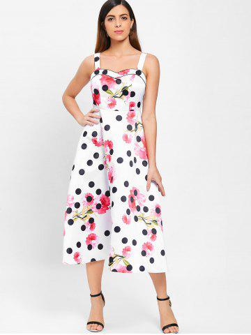 Polka Dot Floral Print Sleeveless Dress