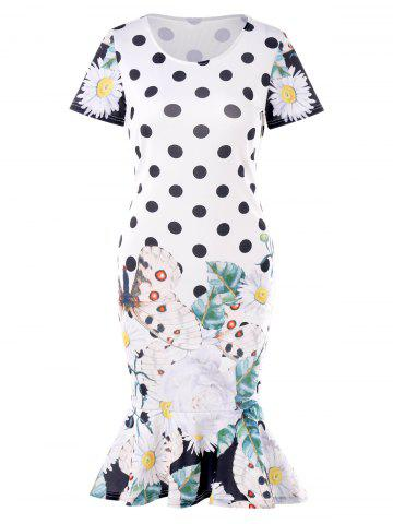 Polka Dot Butterflies Print Midi Dress