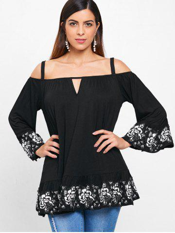 Cochet Floral Trim Cold Shoulder Blouse