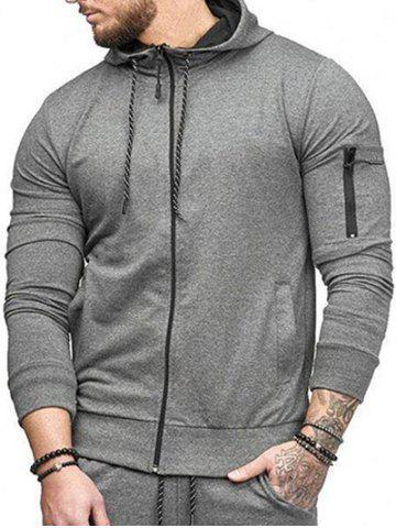 Casual Pockets Zip Up Sports Hoodie - GRAY - XS