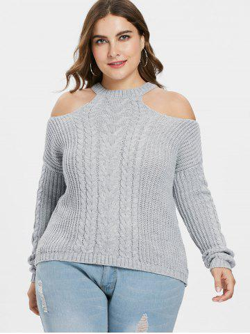 Open Shoulder Plus Size Chunky Sweater