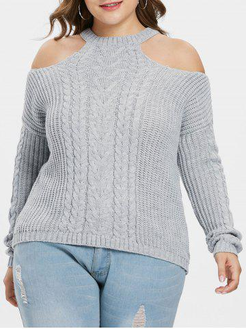 Open Shoulder Plus Size Chunky Sweater - GRAY - ONE SIZE