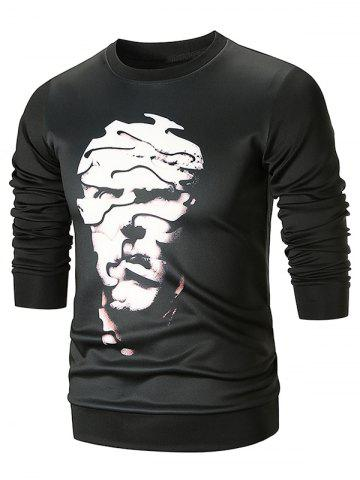 Abstract Face Pattern Pullover Sweatshirt