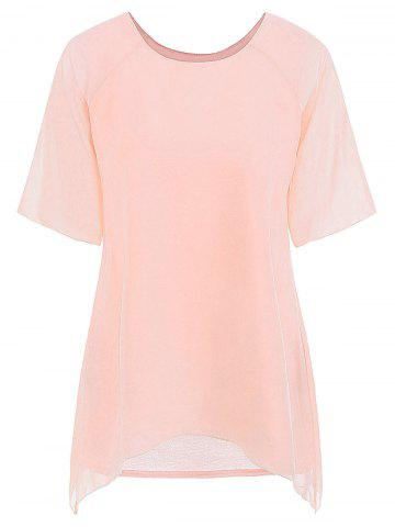 Fairy Style Flowing Texture Chiffon Women's Blouse - PINK - ONE SIZE