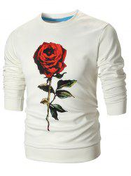 Sweat-Shirt Pullover avec Imprimé Rose 3D -
