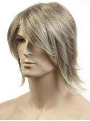 Meidum Side Bang Colormix Straight Synthetic Men Wig -