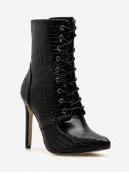 Crocodile Print Lace Up Ankle Boots -
