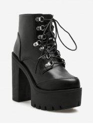 Stud Lace Up Chunky Heel Ankle Boots -