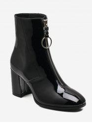 Zipper Front Patent Leather Ankle Boots -