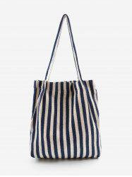 Stripe Print Canvas Tote Bag -